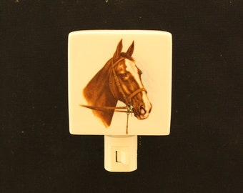 "Blaze face Horse on a 3 "" Square Porcelain Night Light, Memorial Rembrance Night Light, Wall Plug Light"