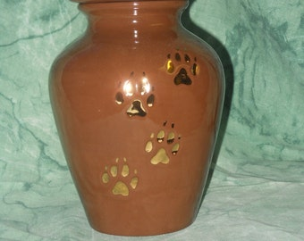 Small Brown with gold paws Dog Urn, Ceramic jar with lid,urn, Jar with lid,Small urn, Small jar, art pottery, handmade