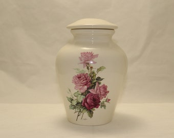Pink and Bergandy Roses on Ceramic Jar with lid, Medium Cremation Urn, Large Pet Urn, Jar for Ashes, art pottery, Handmade Funeral Urn