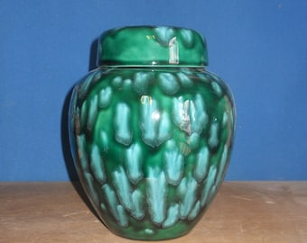 Green with white crystals Adult Cremation Urn, Large Ceramic Jar with Lid Urn, Human Ashes Urn, art pottery, handmade