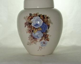 Cremation Urn Blue Roses Ceramic Jar with Lid, Large Ceramic Urn for Human Ashes, Adult Urn. Large Ginger Jar Urn, Art Pottery, Handmade Urn