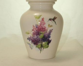 Lilacs and Hummingbird Cremation Urn, Jar with lid, Small Urn, Baby Urn, Infant Urn, Pet Urn, Kitten urn. art pottery, handmade