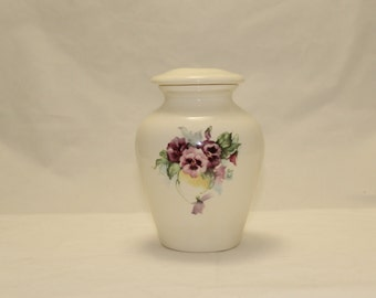 Pansy Ceramic Jar with Lid,Keepsake Cremation Urn, Baby or Infant  Urn,Small Pet Urn, Tiny jar, art pottery, handmade pet urn, purple flower