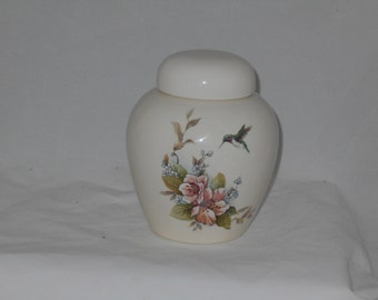 Pink Flower and Hummingbird Cremation Urn, Ceramic Jar with Lid,Pet Urn,Cat Urn,Dog Urn,Small Urn for Ashes, art pottery, handmade