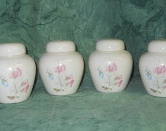 Tiny Cremation Urn with Pink and Blue Sweet Peas on white Jars with lid, Baby or Infant Urn. Small Pet Urn, art pottery, handmade