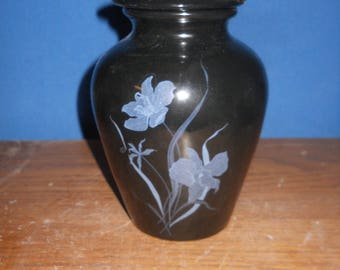 Cremation Urn, Black with White & Gold Flowers,Ceramic Jar with Lid,Keepsake Urn,Pet Urn,Small urn,Small Jar with Lid, art pottery,Handmade