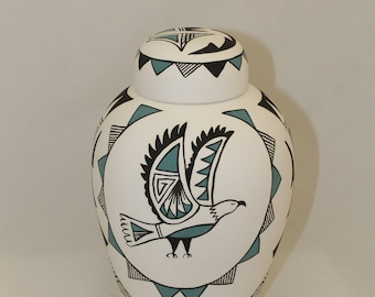 Native American Eagle Urn Ceramic Jar with Lid, Adult Cremation Urn. Large Cremation Urn, Large Urn for Ashes, Art Pottery, Handmade