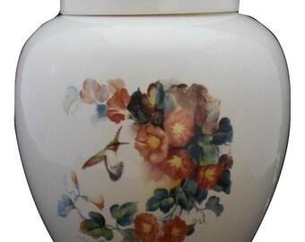 Hummingbird with orange trumpet vine Cremation Urn, Ceramic Jar with Lid,  Adult Cremation Urn, large urn, large jar, art pottery, handmade
