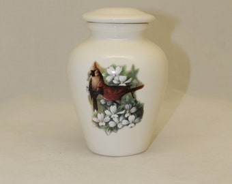 Cremation Urn with Cardinals and Dogwood, Jar with Lid, Keepsake Urn, Small Urn for Child, Small Pet Urn, Handmade Ashes Urn
