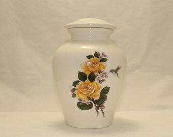 Yellow Roses with Hummingbird Cremation Urn, Ceramic Jar with Lid, Pet Urn, Medium Cremation Urn, Keepsake Urn, jar, art pottery, handmade
