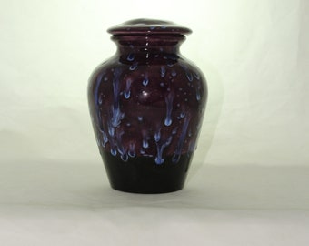 Cremation Urn Purple and Blue Crystal, Jar with lid, Small Urn, Baby Urn, Infant Urn, Pet Urn, Kitten urn. art pottery, handmade