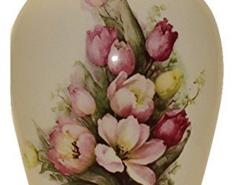 Cremation Urn, Adult Cremation Urn, Large Ceramic Jar with Lid, Large Urn for Ashes, Tulips Art Pottery Urn, Handmade Urn