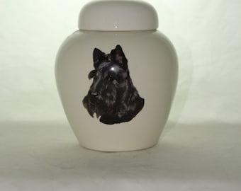 Scottish Terrier Cremation Urn, Ceramic Jar with Lid, Pet or Dog Small Urn for Ashes, Keepsake Urn, Art Pottery, handmade
