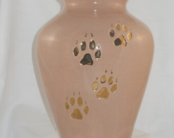 Large Paprika Cream dog cremation urn,  Ceramic jar with lid,urn, Jar with lid,large Dog urn, large jar, art pottery, handmade