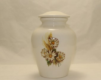 Cremation Urn Daisy with Wheat Ceramic Jar with Lid Medium Cremation Urn, Ginger Jar, art pottery, handmade