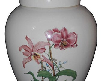 Pink Orchids Cremation Urn, Ceramic Jar with Lid, Pet Cat or Dog Small Urn for Ashes, Keepsake Urn, Art Pottery, handmade