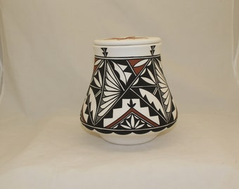 Native American Cremation Urn for Human Ashes, Large Ceramic Jar with Lid, Art Pottery Handmade Funeral Urn