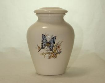 Blue Butterfly Ceramic Jar with Lid, Small Cremation Urn, Keepsake Babyor Infant Urn, Tiny Pet Urn. Handmade small Pet Urn