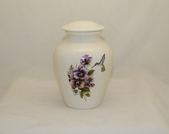 Purple Pansy and Hummingbird Ceramic Jar with Lid, Medium Cremation Urn for Ashes, Child Urn, Pet Urn, Dog Urn, Art Pottery, Handmade Urn