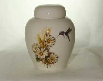 Tiny Cremation Urn with Daisy and Hummingbird, Jar with lid, Baby or Infant Urn, Cat Urn Small Pet Urn, art pottery, handmade