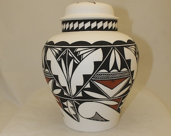 Native American Adult Cremation Urn, Terra Cotta and Black Hand Painted  Extra Large jar with lid for Human Ashes.