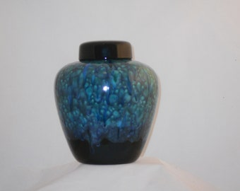 Peacock colored Crystal Cremation Urn for Ashes, Extra Large Urn for Human Ashes, Extra Large Jar with Lid, Hand Made Pottery Funeral Urn