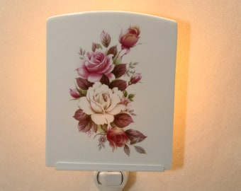 Pink and White Roses Memorial Night Light, Decorative Porcelain Light,