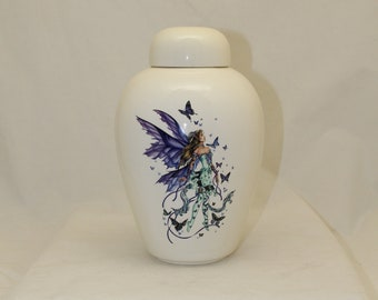 Adult Cremation Urn, Large Ceramic Jar with Lid, Large Urn for Ashes,Art Pottery, Handmade Urn