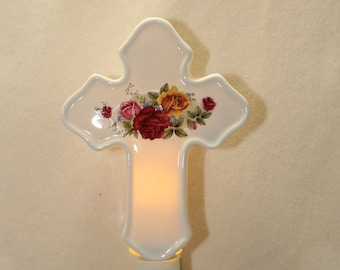Cross Memorial Night Light, Pink, Burgundy and Yellow Roses on Porcelain Night Light, Remembrance of Loved One, Memorial Nightlight