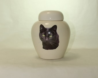 Black Cat Cremation Urn, Ceramic Jar with Lid, Pet Cat or Dog Small Urn for Ashes, Keepsake Urn, Art Pottery, handmade