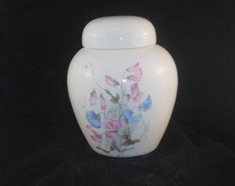 Pink and Blue Sweet Peas Cremation Urn, Ceramic Jar with Lid, Urn for Ashes, Pet Urn, cat Urn, Dog Urn, Keepsake Urn, art pottery, handmade