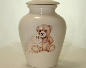 Teddy Bear with Kitten Cremation Urn, Small Jar with lid, Baby Urn, Infant Urn, Pet Urn, Kitten urn. art pottery, handmade