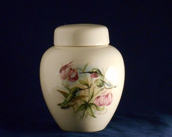 Hummingbird with Pink Lily Cremation Urn, Large Ceramic Ginger Jar with Lid, Urn for Human Ashes