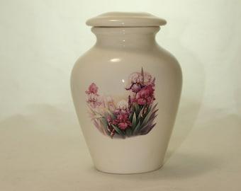 Iris Ceramic Jar with Lid, Small Cremation Urn, Keepsake Urn, Baby or Infant Urn. Handmade small Pet Urn