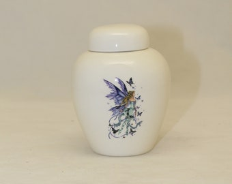 Tiny Cremation Urn with Purple Fairy and Butterfly, Jar with lid, Baby or Infant Urn, Cat Urn Small Pet Urn, art pottery, handmade