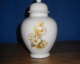 Daisy and Wheat Ceramic Jar with Lid, Baby Urn, Infant Urn, Ashes Keepsake Urn, Tiny Pet Urn, Cat Urn, Small Dog Urn, Art Pottery, Handmade