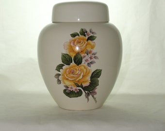 Yellow Roses Adult Cremation Urn, Large Ceramic Jar with Lid, Large Urn for Human Ashes, art pottery, handmade