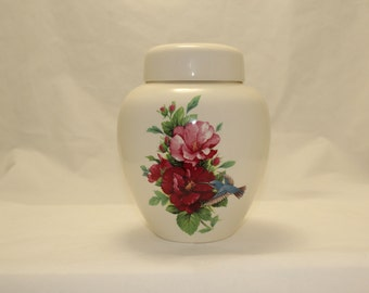 Pink & Burgandy Hibiscus with Hummingbird Adult Cremation Urn, Large Ceramic Jar with lid, art pottery, handmade
