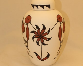 Native American Urn Ceramic Jar with Lid, Adult Cremation Urn, Urn, Jar with lid,large Cremation Urn, large jar, art pottery, handmade