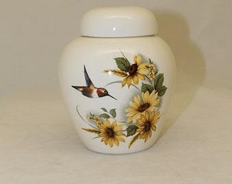 Sunflower and Hummingbird Cremation Urn, Pet Urn, Cat Urn, Dog Urn, Small Urn for Ashes, Keepsake Urn, Art Pottery, handmade