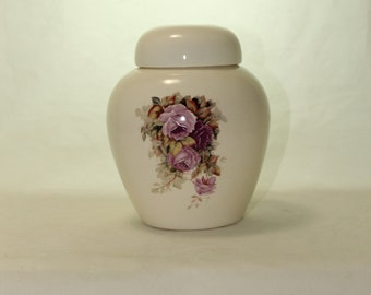 Purple Roses Cremation Urn, Ceramic Jar with Lid, Pet Cat or Dog Small Urn for Ashes, Keepsake Urn, Art Pottery, handmade
