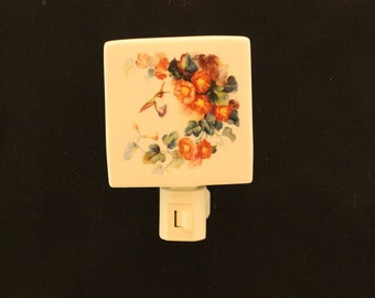Hummingbird Porcelain Night Light with orange Trumpet Vine Flowers, Memoral Nightlight or Remembrance Gift