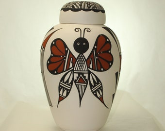 Native American Butterfly Urn Ceramic Jar with Lid, Adult Cremation Urn. Large Cremation Urn, Large Urn for Ashes, Art Pottery, Handmade
