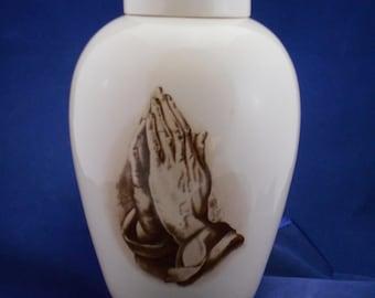Praying Hands Adult Cremation Urn, Large Ceramic Jar with Lid,Urn for Ashes,  Large Jar with lid,large urn, large jar, art pottery, handmade