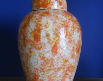 Orange Crystals on Adult Cremation Urn, Large Human Ashes Urn, Large Ginger Jar with Lid, Art Pottery Urn Handmade