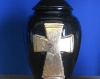 Gloss Black Cremation Urn with Gold Leaf Cross ,Adult Urn,Jar with Lid,Ashes Urn, Jar with lid,large urn, large jar, art pottery, handmade