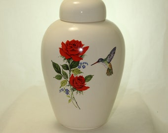 Red Rose with Hummingbird Adult Cremation Urn, Large Ceramic Jar with Lid for Human Ashes, Art Pottery, Handmade Urn