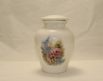 Cremation Urn with Pink Roses and Forget Me Nots Ceramic Jar with Lid, Small Pet Urn, Small Cat Jar, Small Dog Urn, Art Pottery, Handmade