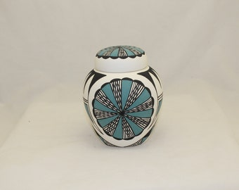 Native American Hand Painted Ceramic Cremation Urn for Ashes, Traditional Turquoise & Black  Design Small Urn