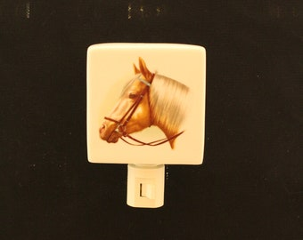 "Palamino Horse Head 3 "" Square Porcelain Night Light, Wall Plug Memorial Light"